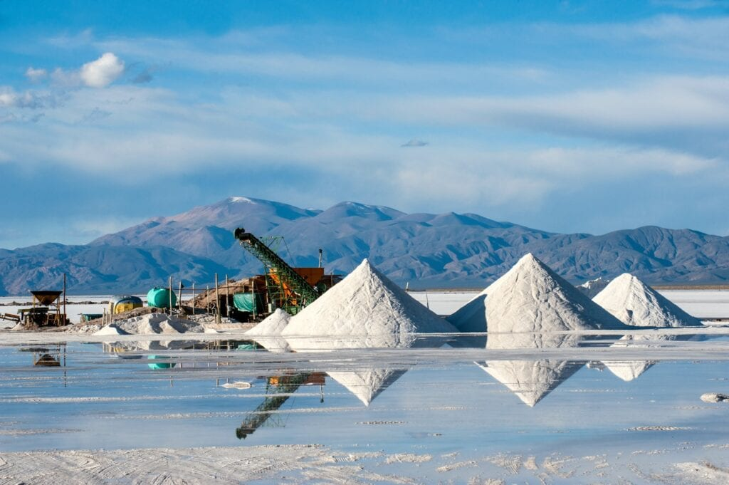 In Chile and Argentina, lithium is extracted from salars